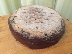 A perfect Flat top cake dusted with castor sugar..