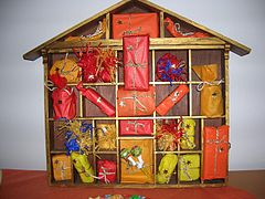 A home-made Advent calendar featuring presents